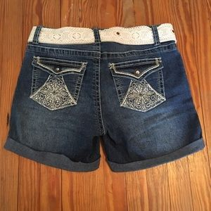 No Boundaries Rhinestone Shorts w/ Crochet Belt